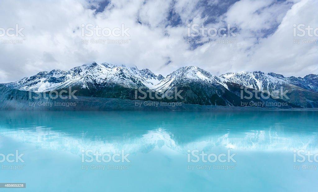 Tasman Glacier Beautiful Reflections stock photo