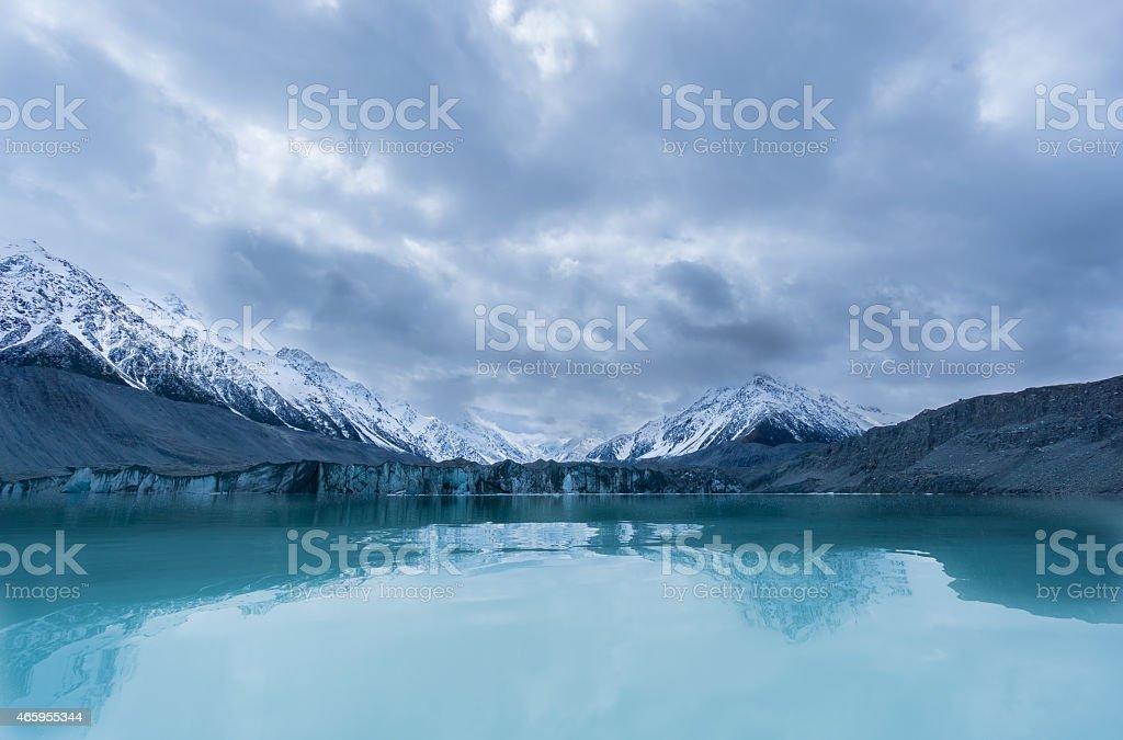 Tasman Glacier Clouded Mount Cook stock photo