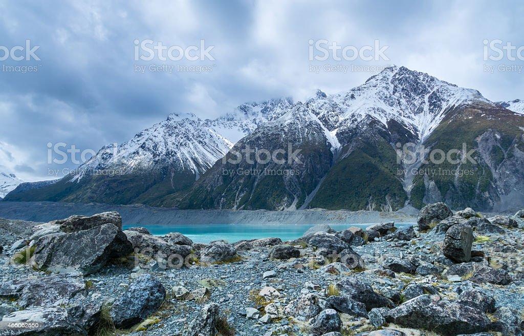Tasman Glacier Hint of Turquoise stock photo
