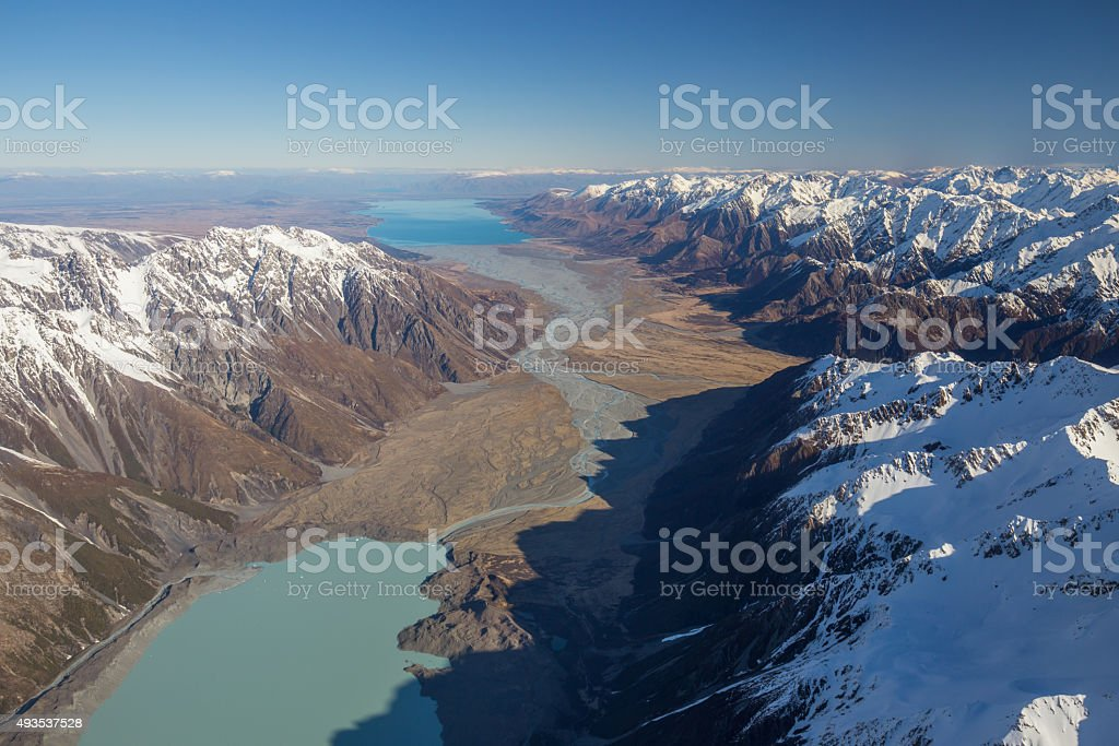 Tasman Glacier Lake and Lake Pukaki stock photo