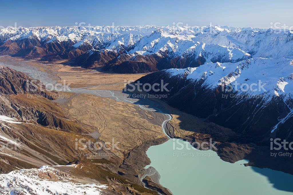 Tasman Glacier Lake and Tasman Valley stock photo