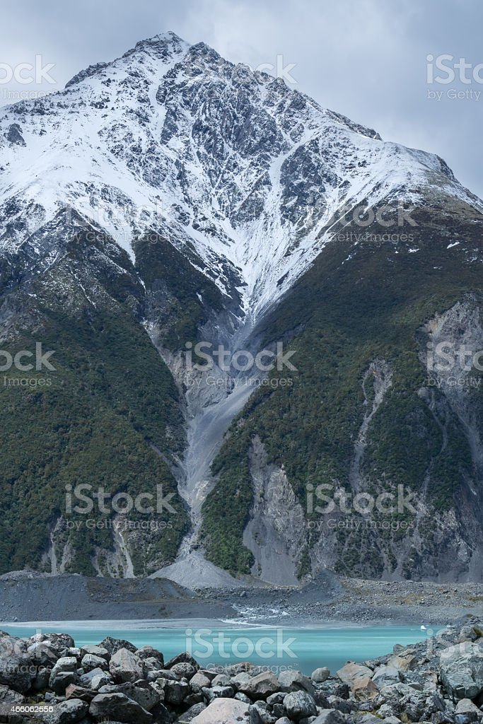 Tasman Glacier Melting Snow stock photo