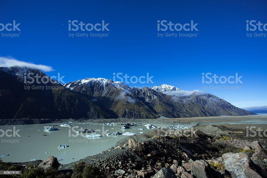 Tasman Lake And The Outlet To Lake Pukaki stock photo