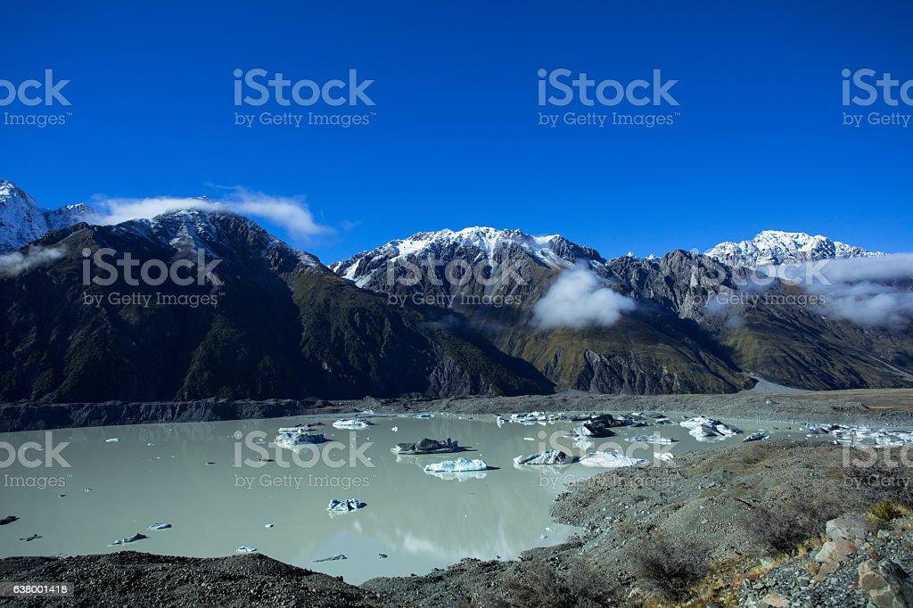 Tasman Lake Of The Mount Cook National Park stock photo