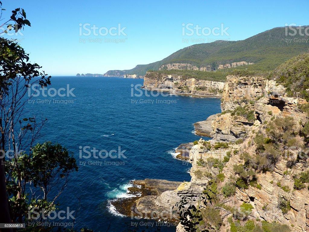 Tasman Peninsula Tasmania rugged cliff coastline stock photo