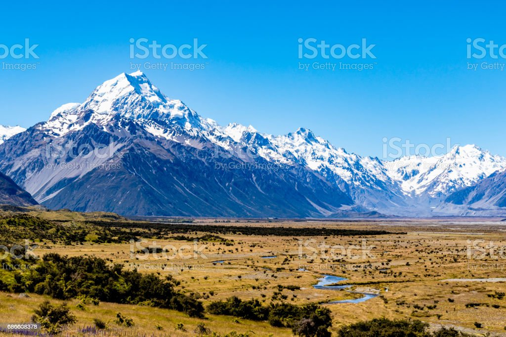 Tasman River valley and Mount Cook stock photo