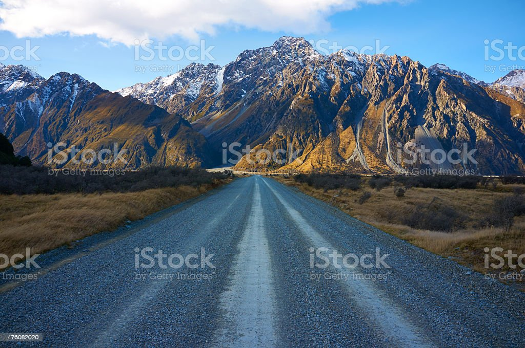 Tasman Valley Road In Mt Cook National Park stock photo