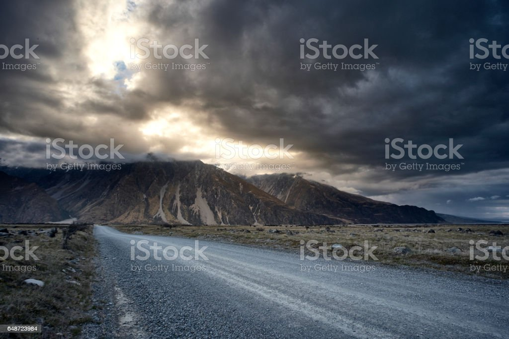 Tasman Valley Road In The Mt Cook National Park, New Zealand stock photo