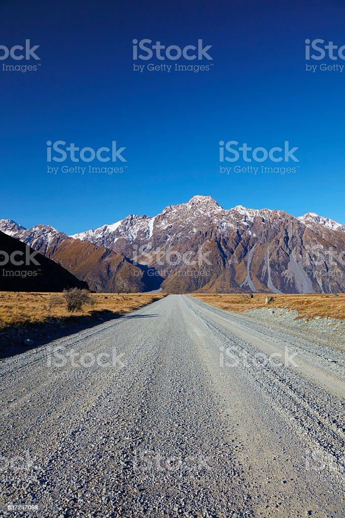 Tasman Valley Road On New Zealand's South Island stock photo
