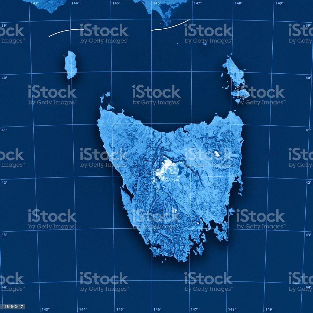 Tasmania Topographic Map stock photo
