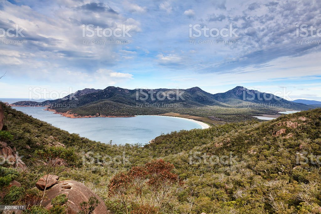 Tasmania Wineglass bay top day stock photo
