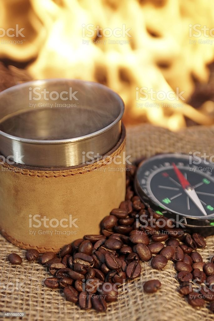 Taste of adventure and romance at a fire XXXL stock photo