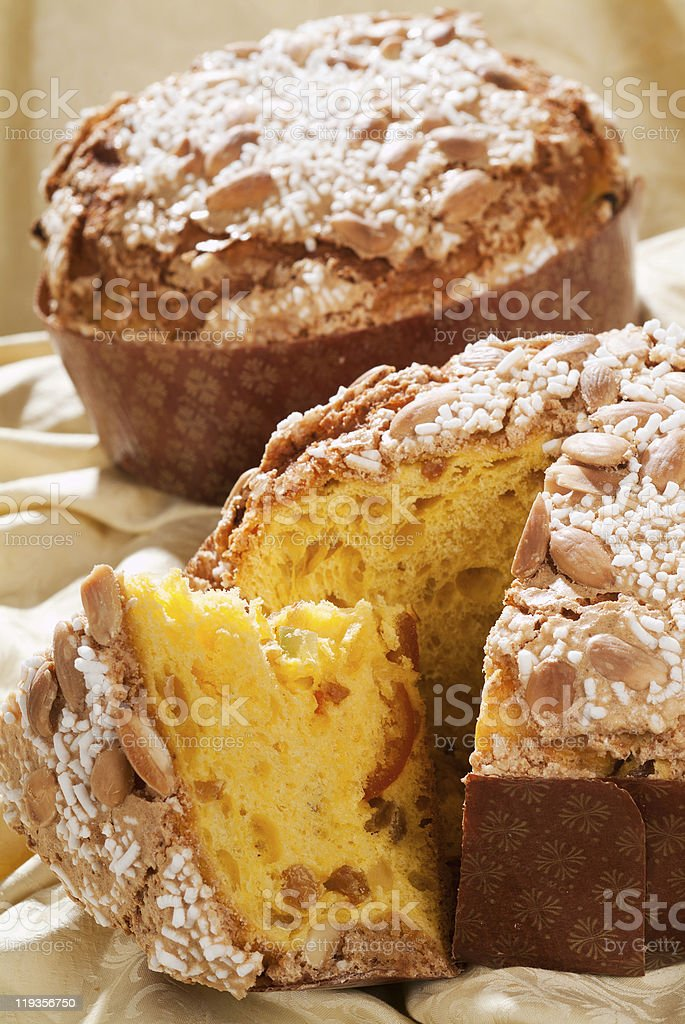 Taste this delicious panettone made with fresh ingredients royalty-free stock photo