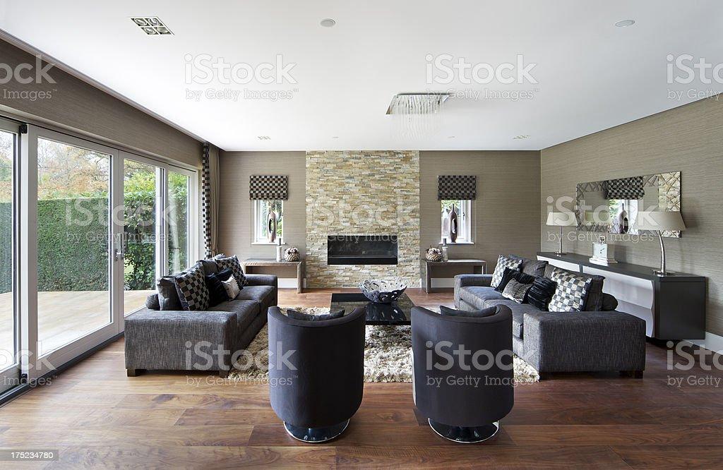 tasteful garden lounge stock photo