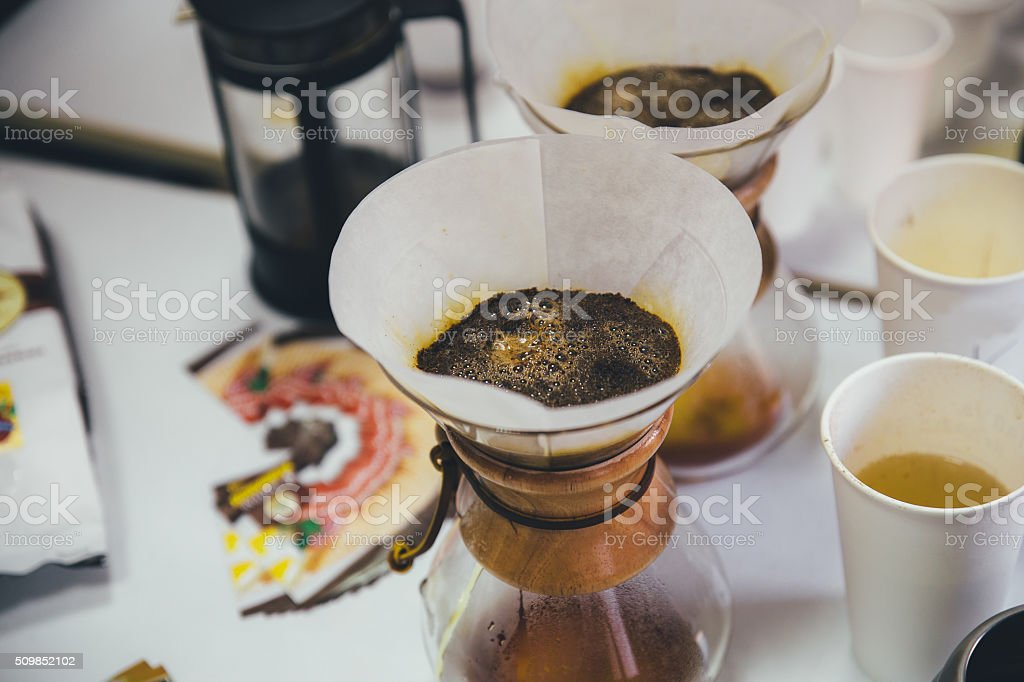 tasting filter coffee stock photo