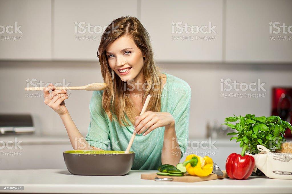 Tasting food stock photo