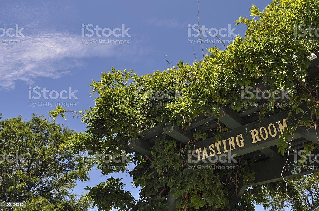 Tasting Room Sign at California Winery stock photo