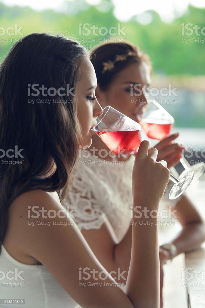 Tasting rose wine stock photo