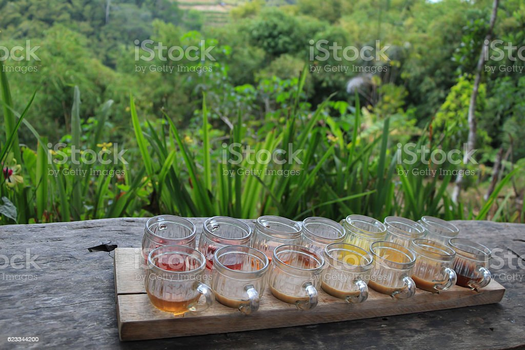 tasting set of different kinds of tea and coffee stock photo