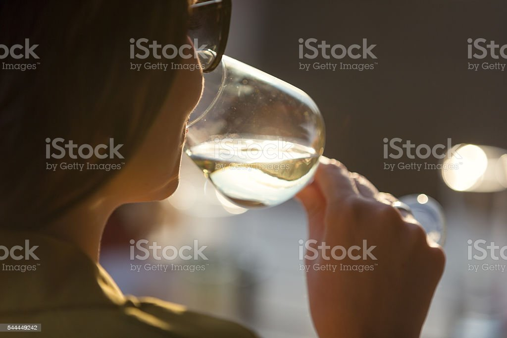 Tasting wine stock photo