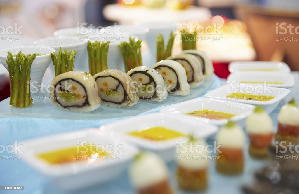 Tasty appetizers on banquet table royalty-free stock photo