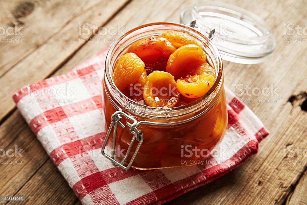 Tasty apricot jam stock photo