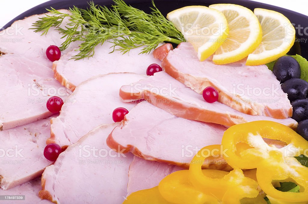 Tasty bacon with pepper on the plate royalty-free stock photo