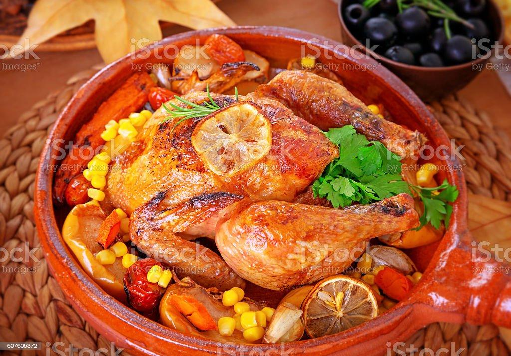Tasty baked turkey stock photo