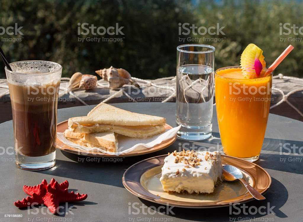 Tasty breakfast during a vacation. stock photo
