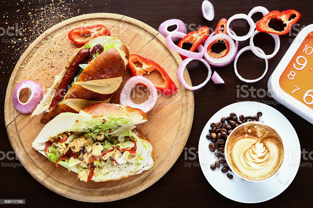 Tasty breakfast with sandwiches and coffee stock photo