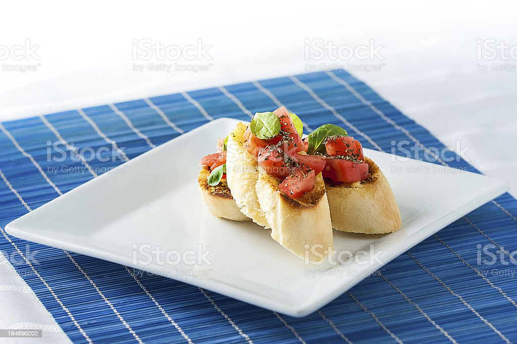 Tasty bruschetta on the plate - stock image royalty-free stock photo