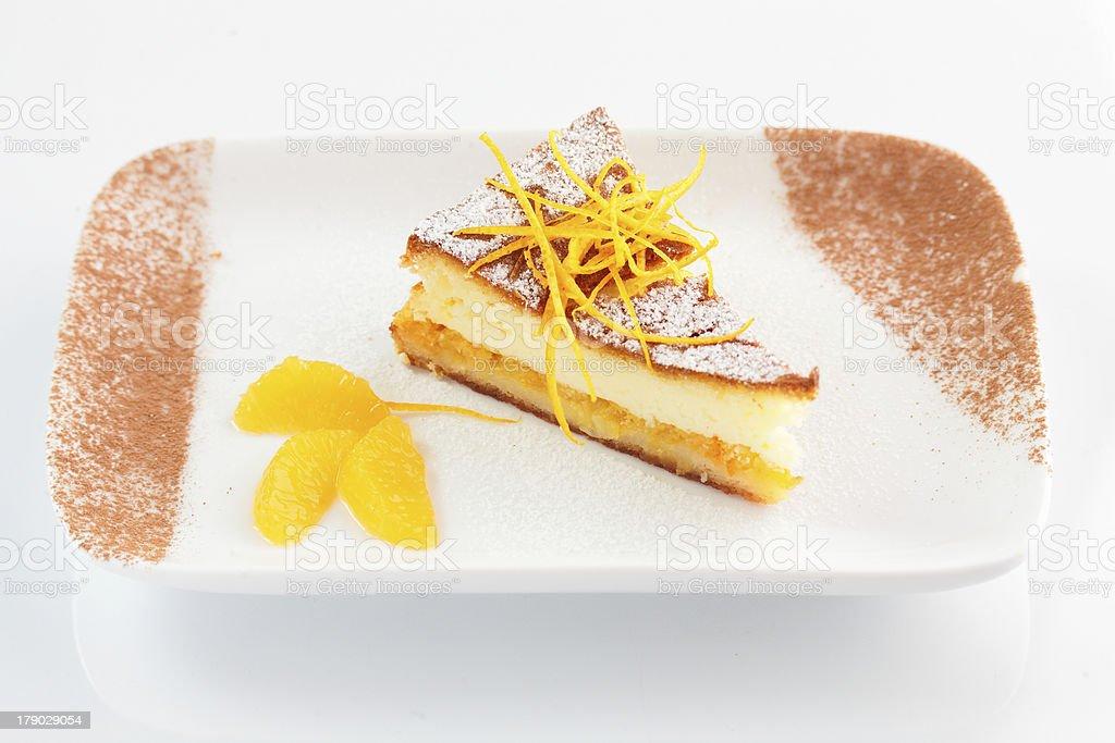 tasty cake on the dish royalty-free stock photo
