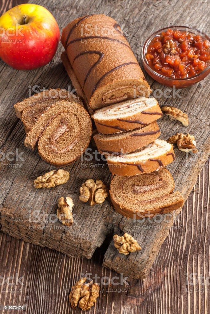 Tasty cake roll stock photo