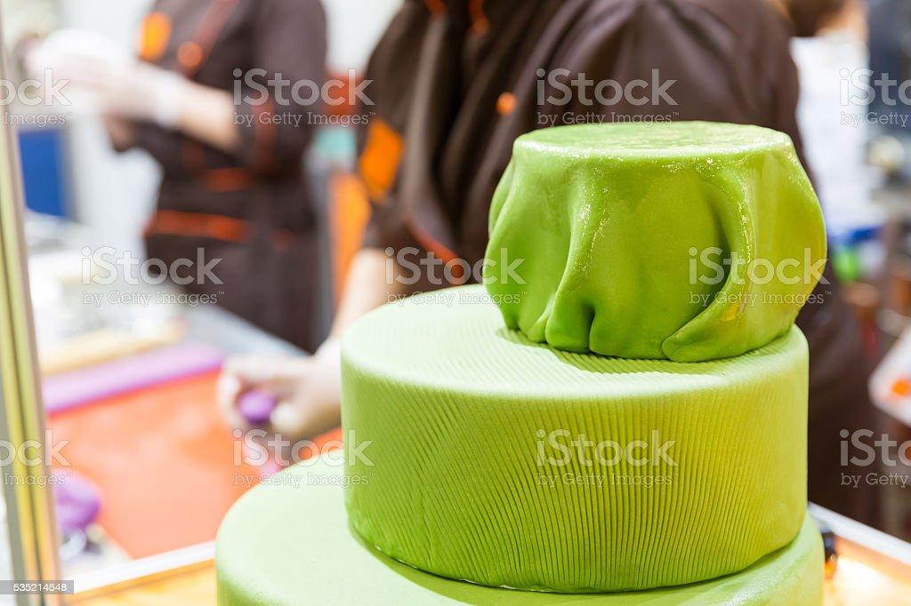 Tasty cake with gum paste stock photo
