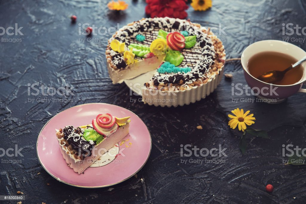 Tasty cakes composition stock photo