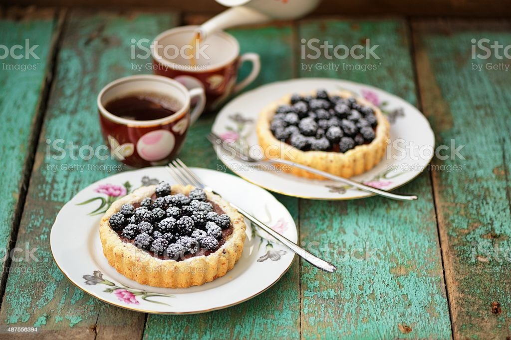 Tasty cakes with fresh wild blackberries and icing sugar stock photo