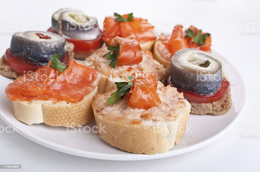 tasty canape with seafood royalty-free stock photo