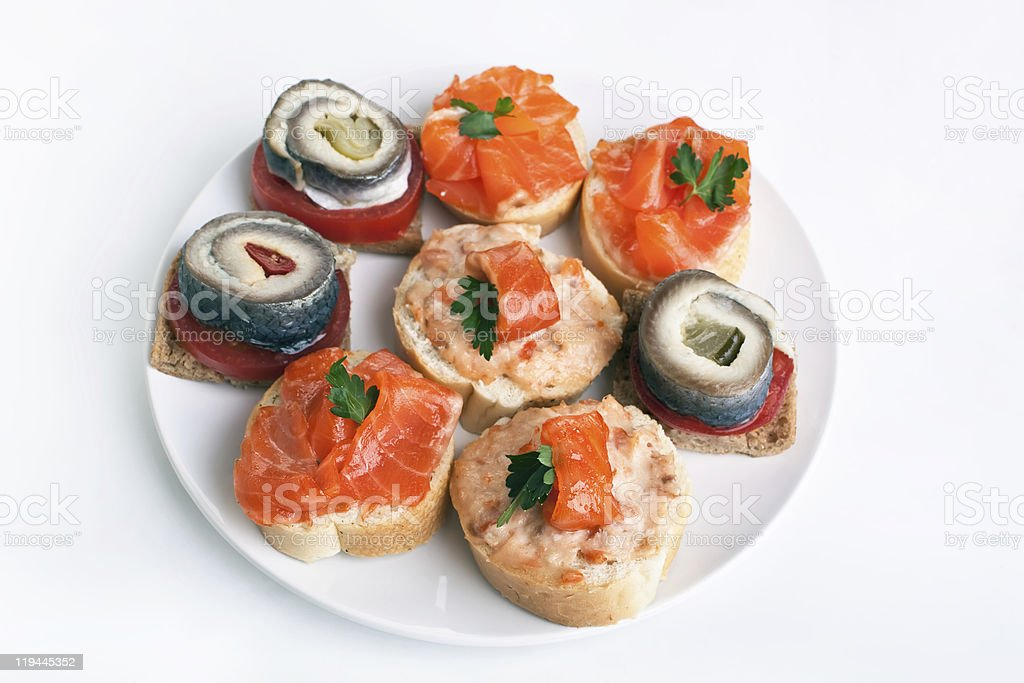 tasty canape with various seafood royalty-free stock photo