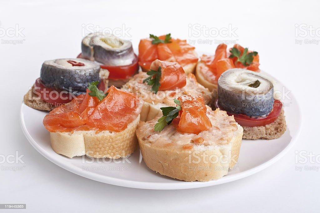 tasty canape with varoius seafood royalty-free stock photo