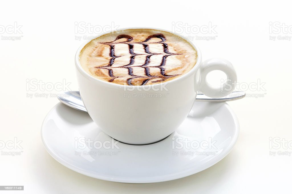 Tasty Cappuccino Cup with drawing on scum royalty-free stock photo
