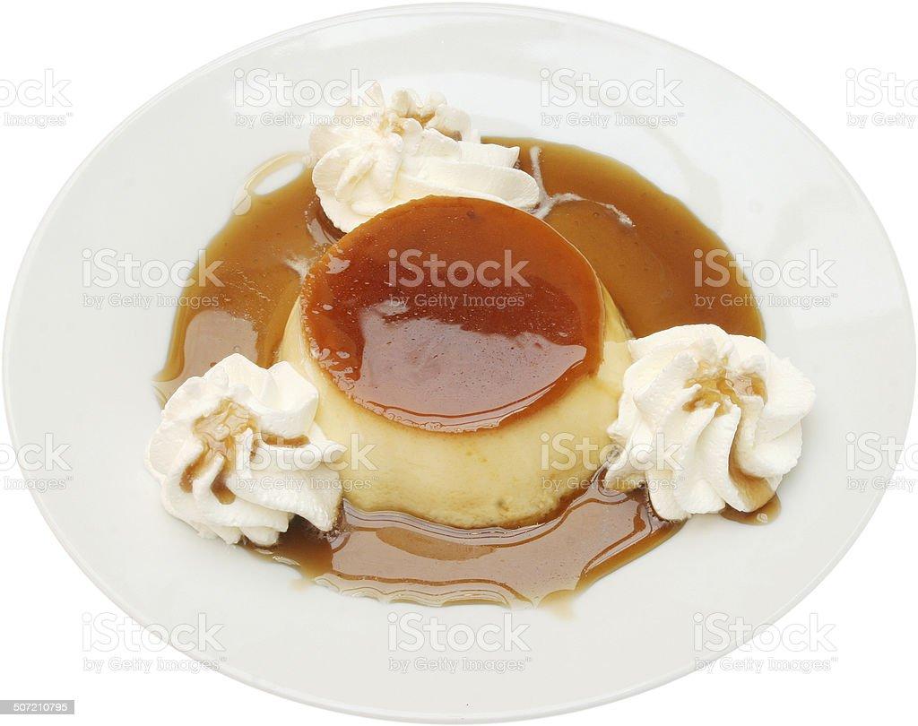 Tasty caramel custard dessert stock photo