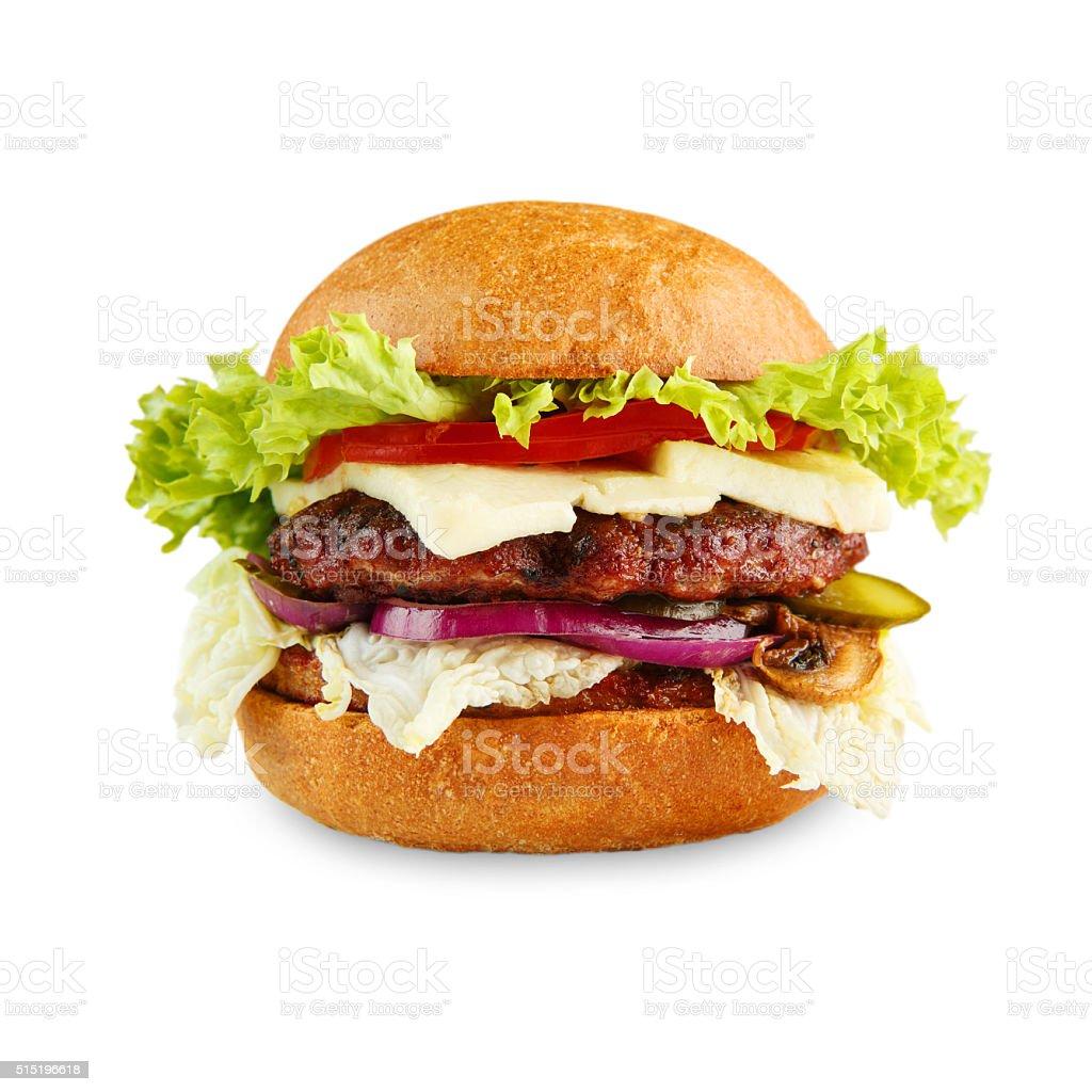 Tasty cheeseburger isolated at white background stock photo