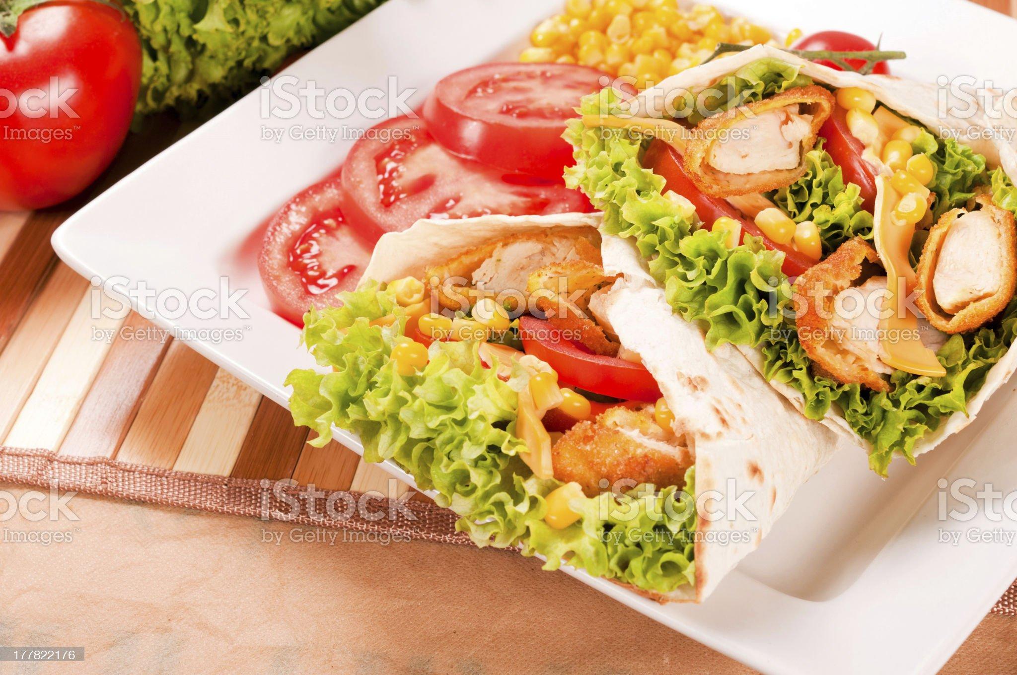 Tasty chicken wrap royalty-free stock photo