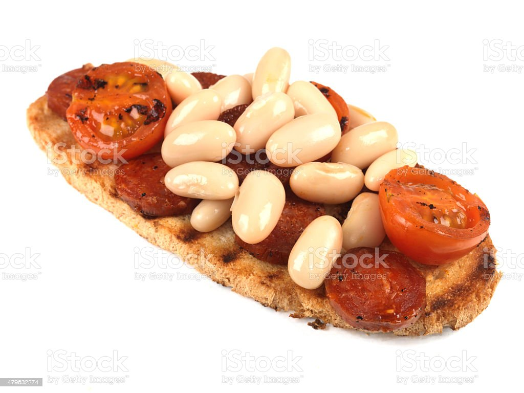 Tasty Chirozo and Cannellini Beans on Toast stock photo
