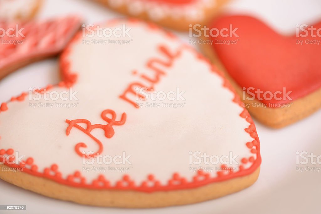 Tasty cookies lying on the table stock photo