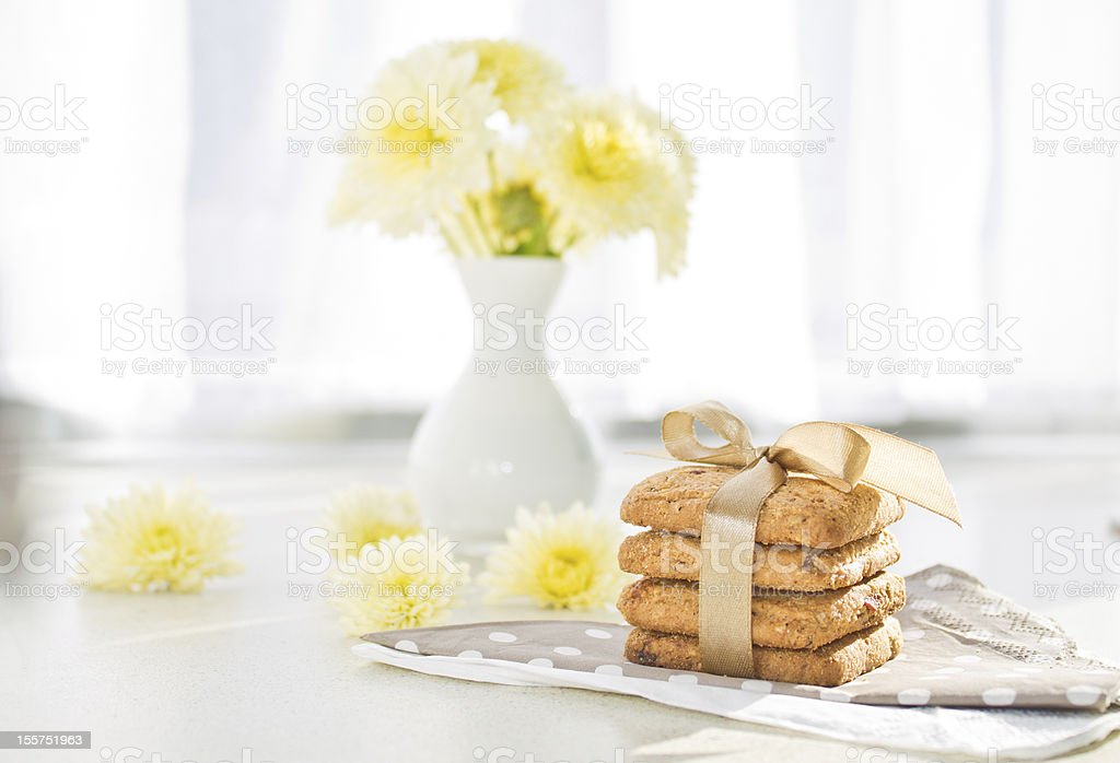 Tasty cookies on the napkin royalty-free stock photo