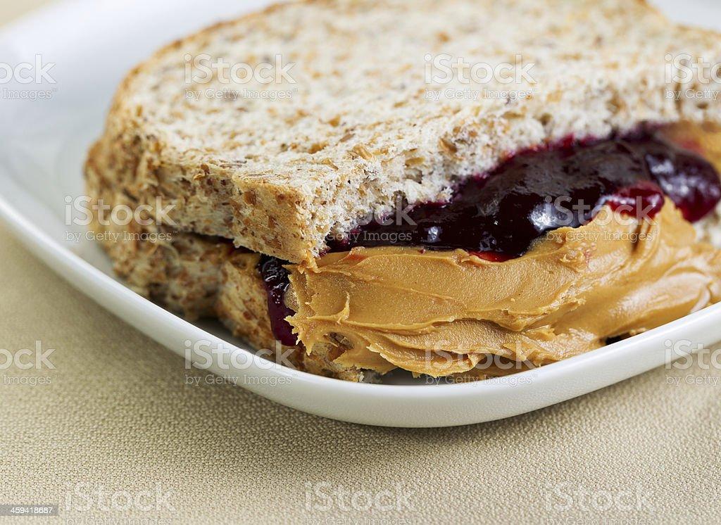 Tasty Creamy Peanut Butter and Jelly Sandwich stock photo