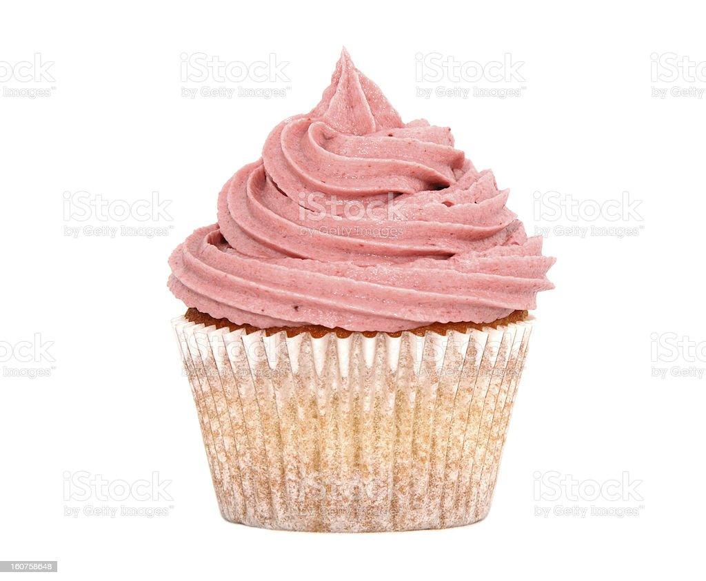Tasty cupcake with pink frosting royalty-free stock photo