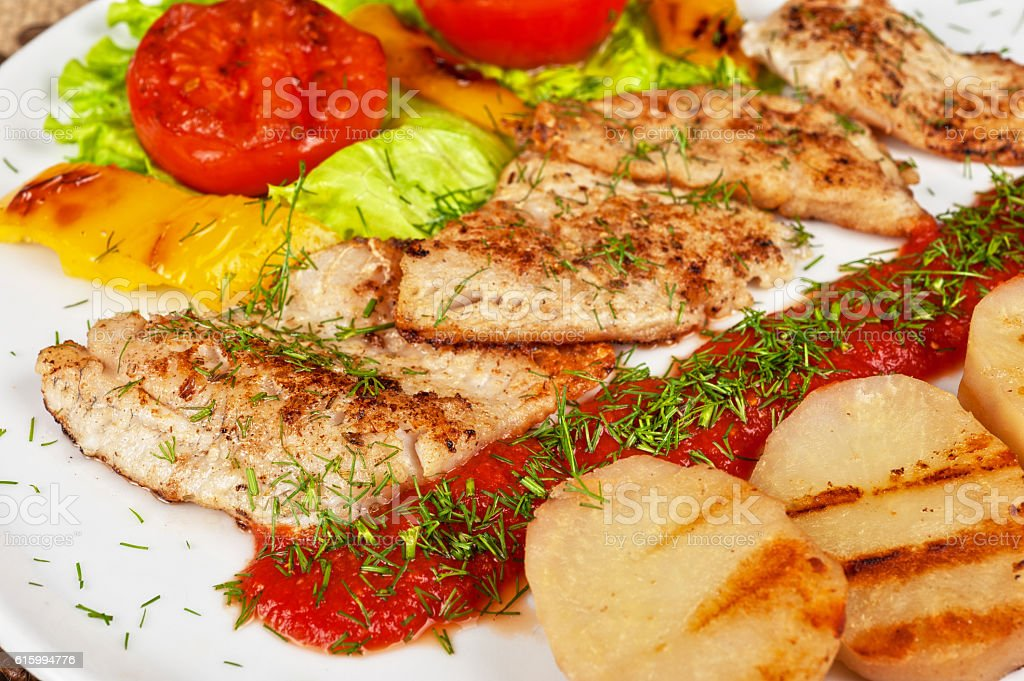 Tasty fish pike perch fillet stock photo
