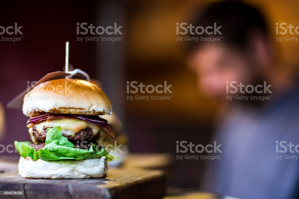Tasty Flame Grilled Burger stock photo